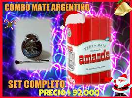 OFERTA! SET MATE ARGENTINO! MATE CALABAZA c\ BOMBILLA y YERBA AMANDA 250 GR !