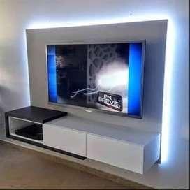 Panel rack colgante tv lcd led moderno en melamina 18mm segunda mano  Paso del Rey, Buenos Aires