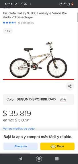 Bicicleta Halley rodado 20