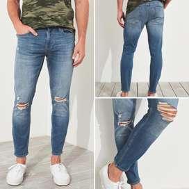 Pantalon Jeans Hollister Crop Super Skinny Advanced Stretch Talla 32 Para hombre