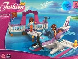 Fichas tipo lego avion avioneta mar armable 161 piezas niñas