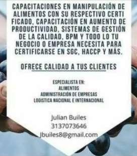 Carnet y certificaciones para manipulación de alimentos