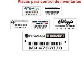 placas para inventario de activos fijos