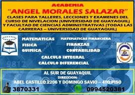 CLASES PARA EXAMENES, TALLERES, LECCIONES DEL CURSO DE NIVELACION (UNIVERSIDAD DE GUAYAQUIL)