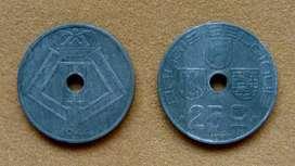 Moneda de 25 céntimos Bélgica 1944