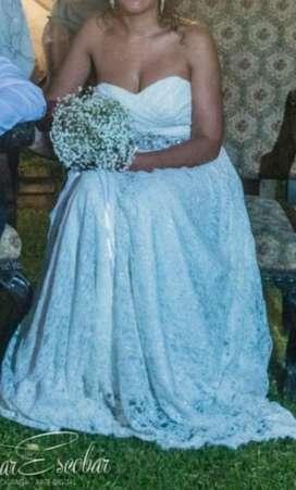 Vestido Novia de Encaje Francés