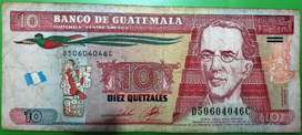 billete de 10 quetzales de Guatemala de coleccion