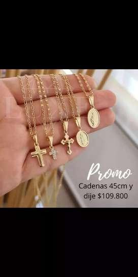 Joyas oro laminado 18k tobilleras pulseras cadenas rosarios