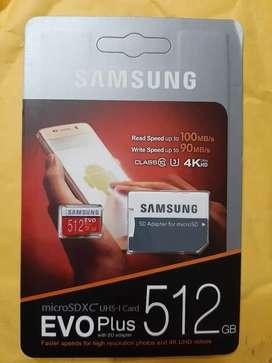 MICRO SD XC SAMSUNG EVO PLUS 512 GB, COMPATIBLE CLASE 10 Y U3, VIDEOS 4K Y ULTRA HD,100Mb DE LECTURA Y 90Mb ESCRITURA
