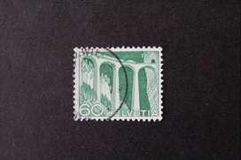 ESTAMPILLA SUIZA, 1949, VIADUCTO FERROVIARIO LANDWASSER, USADA
