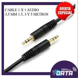 Cable 1 x 1 Audio Auxiliar 3,5 mm 1.5, 3, 5 Metros