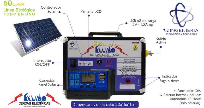 Impulsor Cerca Eléctrica Solar 40km USBx2, baterias internas, LCD 0