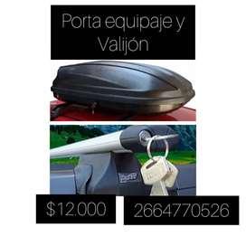 Vendo portaequipaje de aluminio y VALIJON grande $12000