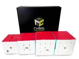 Rubik Colombia Qiyi Pack 2x2, 3x3, 4x4, 5x5 Cubos Speedcube Bases