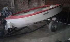 Vendo bote de fibra con su trailer