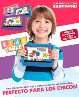 """TABLET XTRATECH 7"""" KIDS KT-755M AZUL,MORADO, ROSADO 1GB/8GB/WIFI/BT AUDIFONO+CASE"""