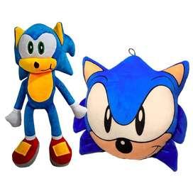 Set Sonic Cojin +Muñeco  Peluche