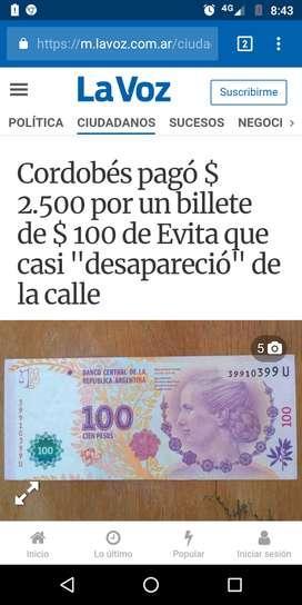 Vendo billetes de 100 pesos con serie U