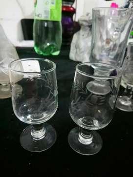 Copas copitas vidrio tallado licor antiguas DIVINAS!!!
