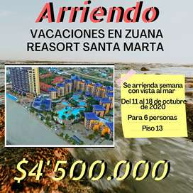 Vacaciones Santa Marta 6 a 8 personas Hotel Zuana beach Resort