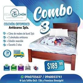 COLCHONES ECONOMICOS 2 PLZ +EDREDON , ALMOHADAS *