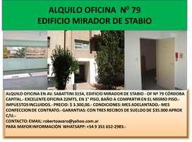 ALQUILO OFICINA  EN  AV. SABATTINI 3154, EDIFICIO MIRADOR DE STABIO - OF Nº 79 CÓRDOBA CAPITAL