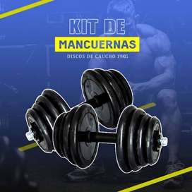 Pesas Mancuernas Gym Discos 19kg Kit Gimnasio