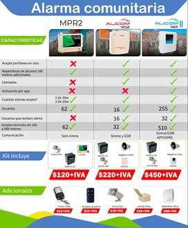 alarmas comunitarias/mpr2/alcom max/alcom voz/ kit alarmas para comunidad