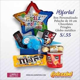 BOX con peluche y chocolates  incluídos.