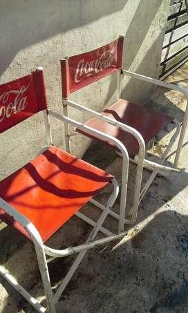 dos sillas plegadizas de coca cola original caño reforzado