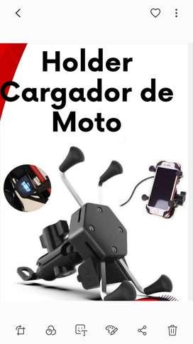 Soporte celular  para moto con cable cargador de celular