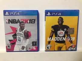 Juegos Play Station 4 Madden 19 y NBA 2k18 Juegos de deportes