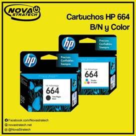 CARTUCHOS HP 664 NEGRO/COLOR ORIGINALES NUEVOS DE PAQUETE SELLADOS