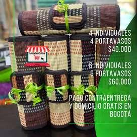 Individuales en Bambú (Madera) Con Portavasos. Pago contraentrega y domicilio gratis en Bogotá