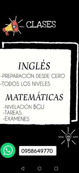 CLASES DE INGLÉS Y MATEMÁTICAS