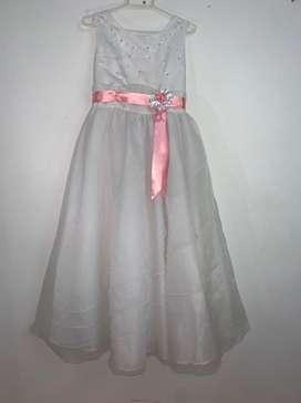 Vestido de primera comunión- blanco con rosado