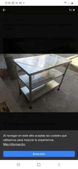 Mesa acero inoxidable cocina trabajo  3 niveles