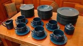 Juego De Vajilla Porcelana Tsuji azul, 12 Personas (50Pzs)