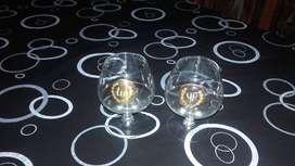 Antiguas Copas de Cognac de Cristal TU y YO.