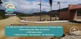 Accede y obten tú Terreno Playero en Puerto Cayo, Manabí/ $90 de Entrada