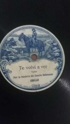 Disco de Pasta 78 Rpm Antiguo Por la rondalla del Gaucho Relampago Era