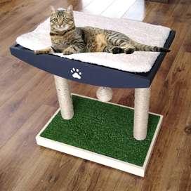 Rascador cama y juego para gatos