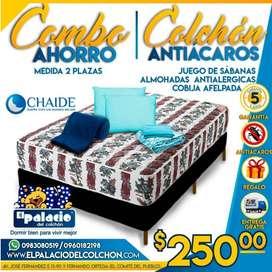*COMBO CHAIDE* Colchon 2 Plaza MAS Cama Base MAS Sabanas MAS Cobijas MAS 2 Almohadas MAS ENVÍO **EL PALACIO DEL COLCHON*