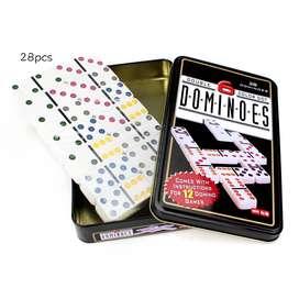 Juego De Domino Doble 6 Puntos Juego De Mesa Familiar De Seis Colores 28 Con Estuche De Lata