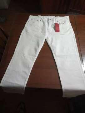 Pantalón jeans blanco Levi Strauss Nuevo Original Sin Uso modelo Stretch 511 W38 L30