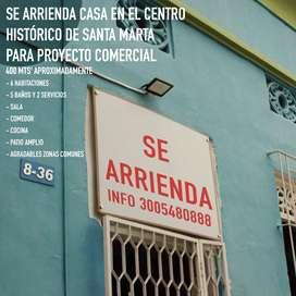Se arrienda casa grande para proyecto comercial (ips, eps, hogar de paso, hostal, etc) en todo el centro de santa marta