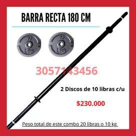 Barra Recta 180 CM Negra Pesas Varios Combos