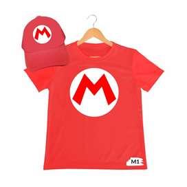 camiseta mas gorra Super Mario para adulto y niño