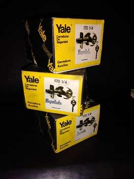 LOTE 3 Cerraduras Yale 170 1/4 Llave-llave 2 niqueladas