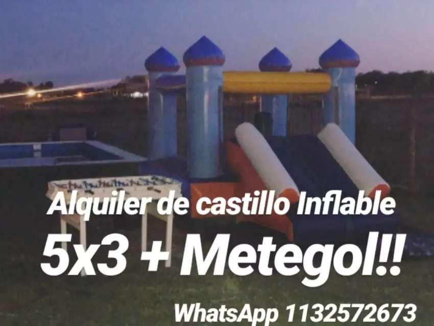 Alquiler de castillo inflable 5x3 con tobogan + metegol. 0